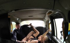 Busty female cab driver gags clients big dick