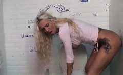 Delicious blonde girl swallows a cum from the gloryhole