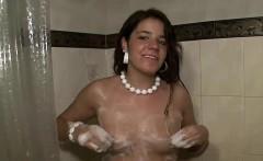 slutty bitch masturbates while taking a shower