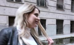 euro blonde in mini skirt banged for money