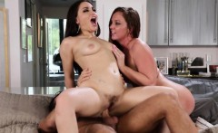 Cocksucking stepsisters riding a lucky cock