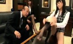Two sexy schoolgirls let the principle fondle their hot
