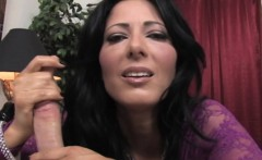 busty office milf tugging cock with two hands