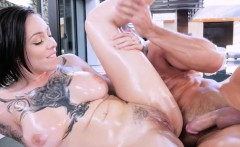 Monster tits inked masseuse fucking