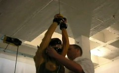 hottie gets tits tied hard in complete bondage show