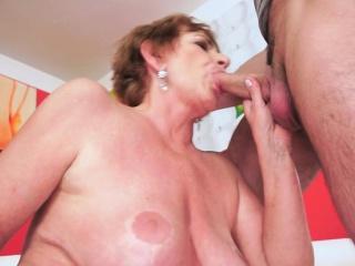 Buxom grandmother cumshot