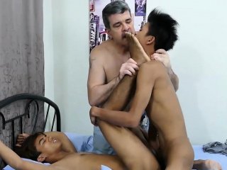 Two asian twinks like to be fucked by mature perv Daddy