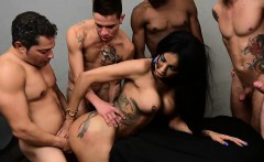 Latina tranny beauty with big tits gangbanged by some guys