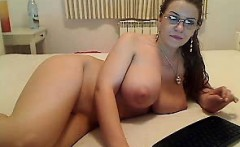 Pale amateur babe with big boobs swallows cum on her knees