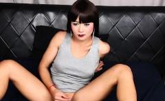 Classy ladyboy wanks until she squirts cum