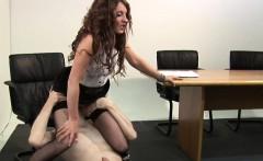 Teasing CFNM babe rides slaves cock