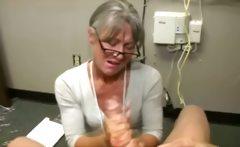 Granny gets cumshot from lucky guy and really loves it