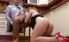 This blond slut loves his aeging dick bringing her to climax