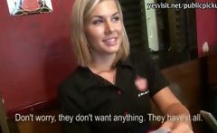 Pretty blonde barmaid gives head and slammed hard for money