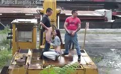Young teen girl public sex fuck on a bulldozer