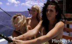 Babes taking off their bikinis for frisky fishing and gun