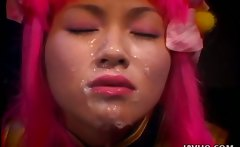 Horny Kao Sugimori receives a massive cum facial
