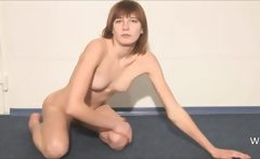 Boring chick stripping on the floor