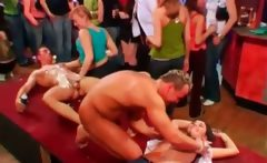 Tempting strippers get sucked in a row at orgy