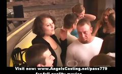 Unplanned orgy with hot girls undressing and giving blowjob