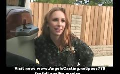 Amazing skinny redhead flashes tits and does blowjob for