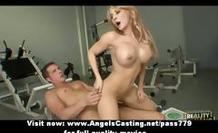 Sporty blonde does blowjob and titsjob and rides cock for