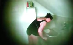 Catching my Mom on hidden cam in bathroom