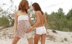 Russian teens dildoing on the beach