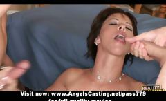 superb lovely short hair brunette lady getting fucked by