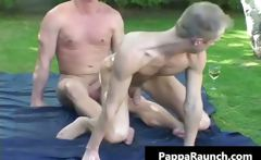 Mature gay dude gets his hard dick