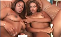 Ebony hot lesbians teasing fat cunts with vibrators