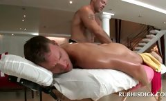 Excited gay ass fingering and rubbing cock after massage