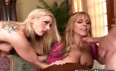Hot blonde babes suck stiff rod