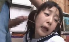 Brunette asian mouth fucked hard in school library