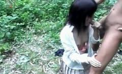 Asian teen turned sex prisoner eats cock on knees