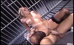 Uniformed female in fishnet stockings fucking