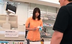 Sweet asian shop attendant gets cunt teased upskirt