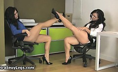 Two super hot brunette babes showing