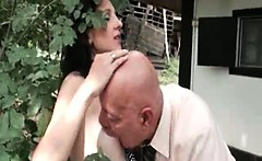 Cute brunette babe gets her tits sucked