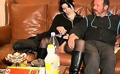 Nasty black hair whore is sucking that