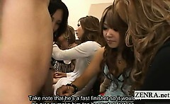 Subtitled CFNM Japanese gyaru handjob with cumshot