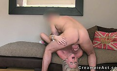 Blonde gets pussy creampie in office on casting