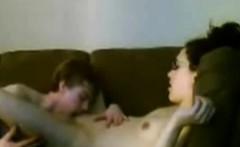 Skinny young couple fucks on the sofa