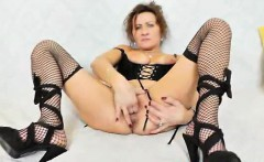 Sexy mother solo in black lingerie