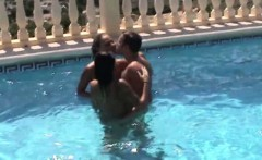 German Amateur Teens in Threesome at Pool on holiday