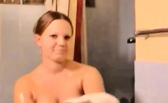 Brunette German Girl Out Of Shower Doggystyle