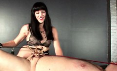 Dominatrix snapping sex slave and clipping cock