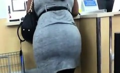 Thick Ebony Woman Shopping At WalMart