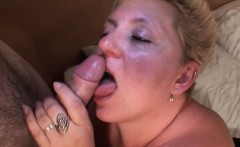 Chesty mature licks and sucks a tasty dick