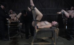 Restrained submissive punished in dungeon